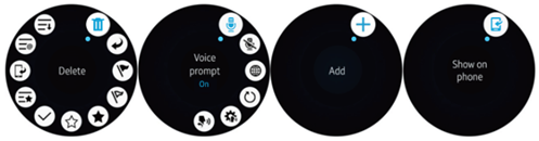 Different actions for different card types on a circular type wearable device