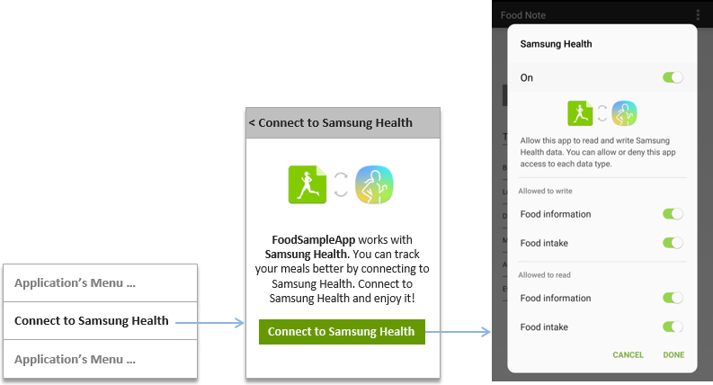 Example of connection UI to S Health