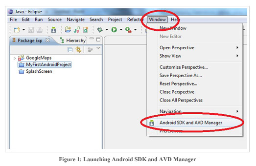 Figure1:Launching Android SDK and AVD Manager