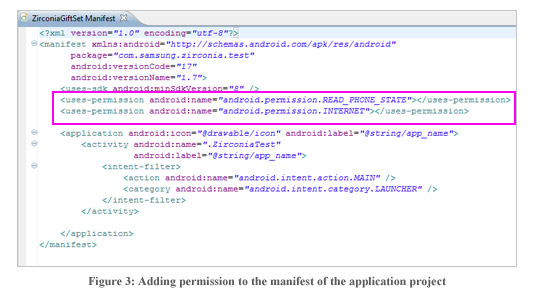 Figure3 : Adding permission to the manifest of the application project