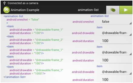 [Image 14] Example animation-list xml which was generated via an application