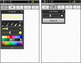 [Figure 5] Pen and Eraser Settings pop-up windows