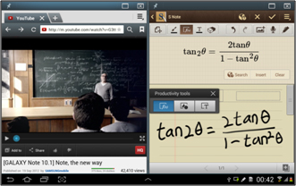 [Figure 23] Demonstration of video lecture app and writing app that use S Pen on the same screen