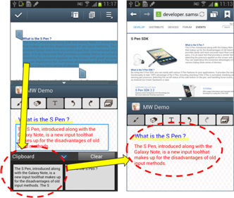 [Figure 24] Copying and pasting text with the clipboard