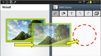 [Figure 25] Adding images with drag & drop