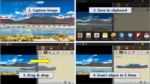 [Figure 26] Adding an image using S Pen Easy Clip feature and drag & drop