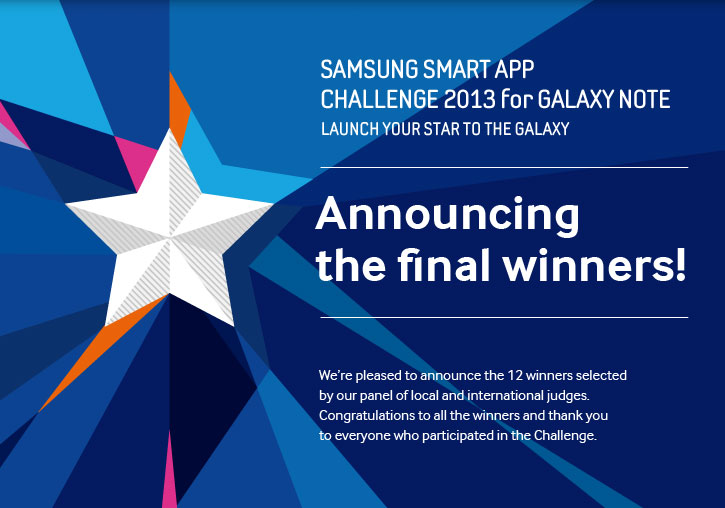 SAMSUNG SMART APP CHALLENGE 2013 for GALAXY NOTE Launch your star to the Galaxy